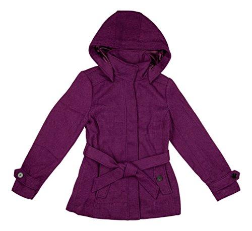 Nicole Miller Women's Wool Blend Pea Coat - Detachable Hood - Zip Up Front with Self Tie Belt (Small, (Chic Wool Coat)