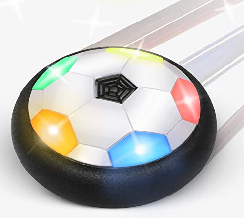 Floating Soccer Ball for Toddlers & Kids | with Flashing Colored LED Lights | for Smooth Surfaces | New Football Toy for Indoor - Battery Operated Air Hovering Disc for Girls & Boys]()