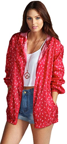 Womens Pac Cagoule A Red Printed Showerproof Bag In A Way FfxBFwY