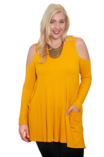 Hot Ginger Women's Plus Size Long Sleeve Ribbed Cold Shoulder Top With Pockets (4X, Yellow)