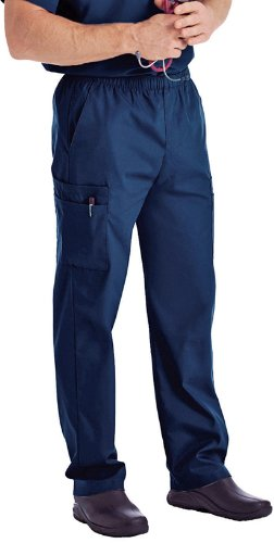 Landau Men's Zipper Front Two Side Pockets Pant, NAVY, Short (Landau 2 Pocket)