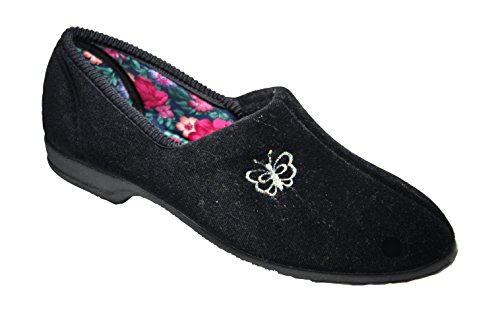 07 Bouquet (Mirak Mirak Ladies Bouquet Soft Textile Butterfly Detail Slipper Black Black Textile UK Size 7 (EU 41))