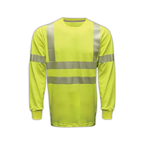 National Safety Apparel C54HYLSC3LG FR Class 3 Long Sleeve T-Shirt, Large, Fluorescent Yellow by National Safety Apparel Inc