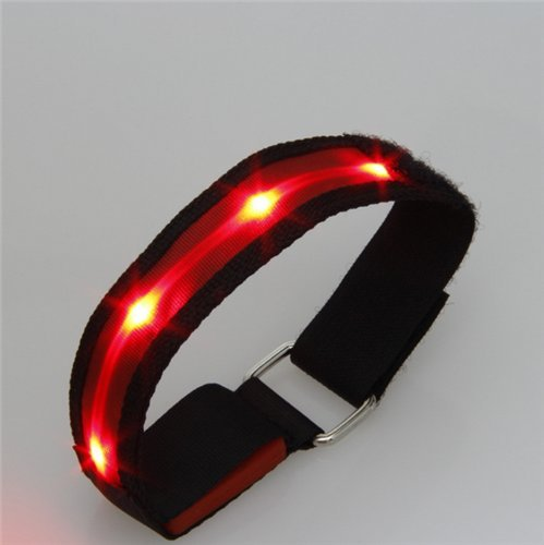 AUCH 1Pair Adjustable LED Light Up Velcro Bracelets Night Safety Reflective Wrist Band for Cycling Jogging Dog Walking Running Concert Camping Outdoor Sports High Visibility, (Led Bracelet Concert)
