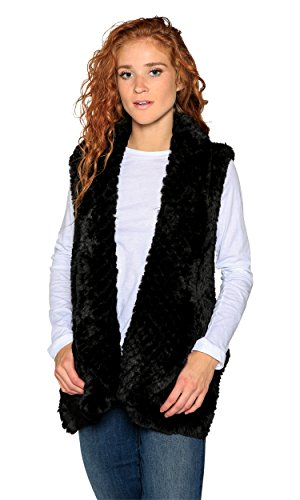 Love Token Ali Faux Fur Vest, Black, M by Love Token