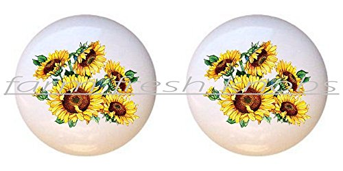 (SET OF 2 KNOBS - Sunflowers #002 - Flowers Plants Flower Bouquet Floral - DECORATIVE Glossy CERAMIC Cupboard Cabinet PULLS Dresser Drawer KNOBS)