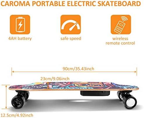Caroma Longboard Électrique - Skateboard Électrique Adulte avec Télécommande sans Fils, Moteurs Doubles 700W, Vitesse Maximal 20KMH, Autonomie 15 KM, Charge maximale de 300 LB