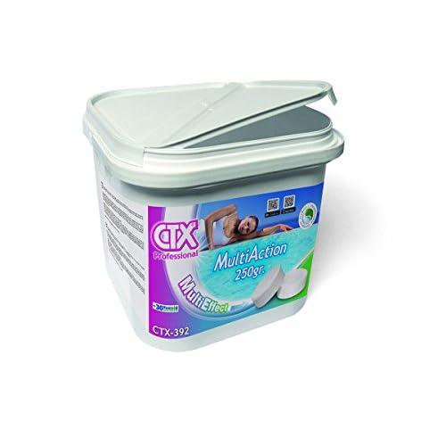 41zksujhgTL. SS500 Tabletas de la marca CTX, fabricadas para que con una aplicación consigamos eliminar y evitar la formación de bacterias, virus y microorganismos en general; evitar la creación de las algas y mantener transparente y cristalina el agua. PROPIEDADES: - Contenido en cloro útil .................... 83 % pH (1%)....................................... 2,5 ? 3 MODO DE EMPLEO: -Tratamiento inicial: añadiremos Dicloro o Cloro shock en razón de 15 gramos por cada metro cúbico de agua. -Tratamiento de mantenimiento: Es muy importante que el Ph este ajustado entre 7.2 y 7.6, se utiliza una pastilla de cloro multiacción CTX por cada 20 m3 de agua , se aplicará cada 7 o 10 días. Estas dosis son de carácter orientativo y pueden variar dependiendo de las condiciones del agua, climatologia ... El tratamiento inicial (Supercloración), se repetirá cuando veamos que el agua no esta en buenas condiciones o tenga muy bajo los niveles de cloro. Colocar el producto en el interior de los skimers o en un flotador dosificador, poniendo a continuación en funcionamiento el equipo de filtración,