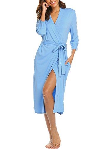 BLUETIME Women's Sleepwear Lightweight Jersey Wrap Robe with Pockets (XL, Light Blue)