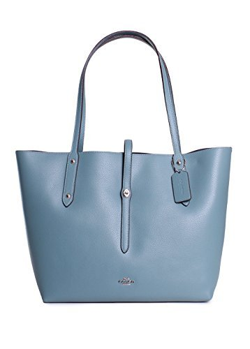 COACH Women's Polished Pebbled Leather Market Tote Sv/Marine One Size