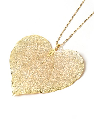Filigree Heart Necklace Set - CLORIS TAUTOU Long Pendant Necklaces Real Leaf Necklace Handmade Filigree Natural Bohemian Jewelry for Women Gifts Gold Color Heart with Pearl