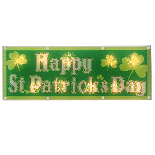 """Northlight 17"""" Lighted Holographic Happy St.Patrick"""