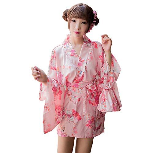 YOMORIO Womens Sexy Kimono Costumes Lingerie Lolita Kawaii Japanese Anime Robe Cosplay (Pink) -