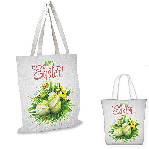 Easter non woven shopping bag Spring Season Foliage with Blooming Flowers Ladybugs and Butterflies Illustration fruit shopping bag Multicolor. 14