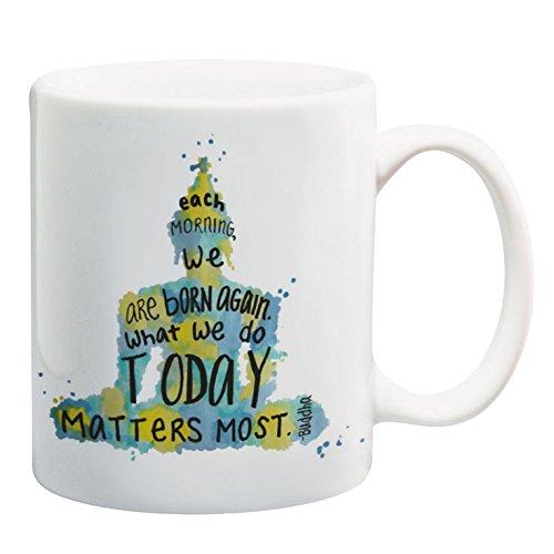 Buddha Quote Mug 11 oz Ceramic Mug with Saying Meditation Art