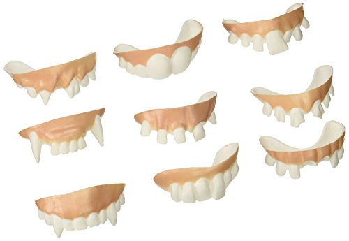 Accoutrements 10818 Gnarly Teeth (Set of 9), Medium, White -