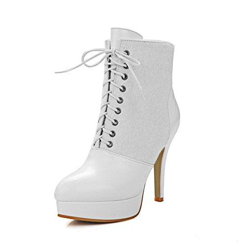AllhqFashion Damen Ziehen auf Hoher Absatz Rein Niedrig-Spitze Stiefel, Weiß, 34