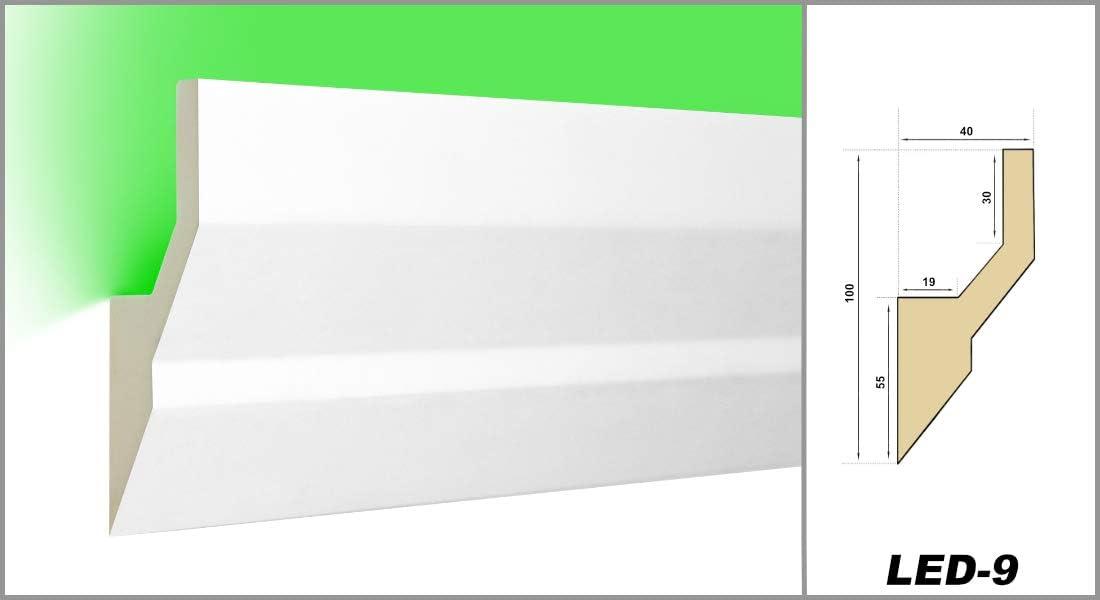 LED-9 20 M/ètres PU Profil Coinc/é Moulure en Stuc Lumineuse LED Stuc Antichoc 100x40
