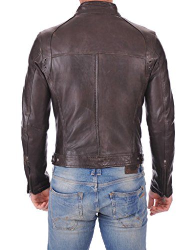 Leather Market Men's 100% Lambskin Leather Bomber Biker Jacket outfit Medium Brown by Leather Market (Image #2)