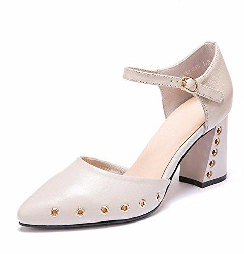 HBDLH Zapato De Tacón Alto Señaló Sola Mujer De 2018 La Primavera Y El Verano La Estación Europea Nueva Zapatos De Mujer Simple Baotou Sandalias. Beige