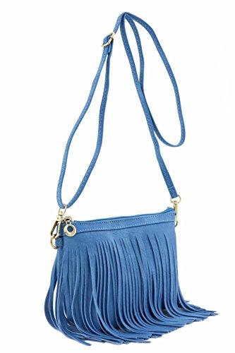 Purse Denim Handbag - Small Fringe Crossbody Bag with Wrist Strap (Denim Blue)