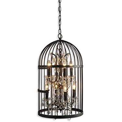 Y Decor LZ2079-4-4RR Hunter 8-Light Rustic Black Cage Chandelier