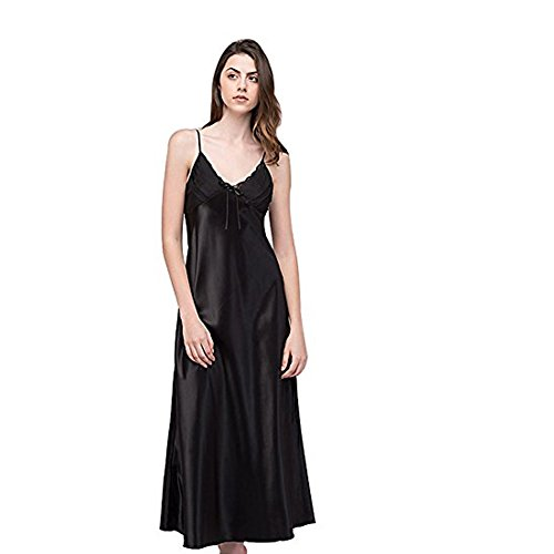 SexyTown Women's Long Trimmed Satin Nightgown V-Neck Full Slip Lingerie Sleepwear (X-Large, Black)