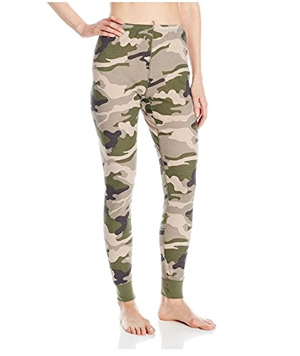 Fruit of the Loom Women's Waffle Thermal Bottoms, Green Camo, Large Camo Thermal Underwear Top