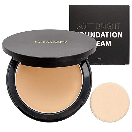 Bellasophy Compact Pur Mineral Creamy Soft Smooth Matte Full Coverage Foundation Long Lasting with The Sponge-Beige