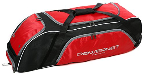 PowerNet Baseball Softball Wheeled Equipment Bag | RED | Perfect for Any Player but Has Extra Room for Catchers and Coaches | Fence Hook | Holds Four Bats