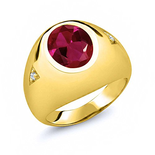 Gem Stone King 5.06 Ct Oval Red Created Ruby 18K Yellow Gold Plated Silver Men's Ring (Size -