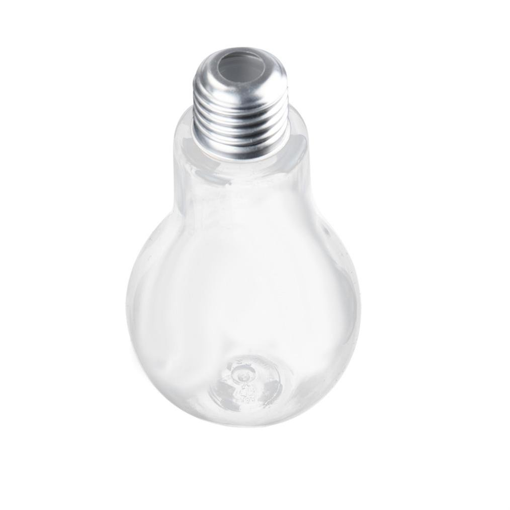 LiPing Party Essentials Hard Plastic 3.4/7/10/13.5/17 oz Creative Bulb Shape Party Cups-New Summer Bulb Water Bottle Cute Brief Fashion Cute Milk Juice Light Bulbs Cup Leak-proof (Silver, 10oz)