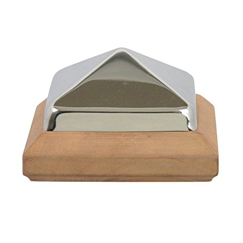 (Miterless 4 in. x 4 in. Untreated Wood Stainless Steel Pyramid Slip Over Post Cap)
