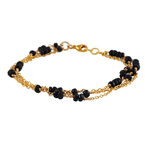 CATHERINE WEITZMAN - Three Strand Bracelet in Gold Vermeil with Faceted Sapphires (Vermeil 3 Strand)