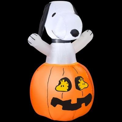 Gemmy Airblown Inflatable Snoopy In Pumpkin with Woodstock As The Eyes Of The Pumpkin, 3-feet Tall