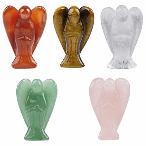 (rockcloud Healing Crystal Gemstone Carved Pocket Guardian Angel Figurines 1.5 inch)