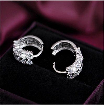 YOMXL Sterling Silver Rhinestones Hoop Earrings White Diamond Rhinestone Sparkle Round Circle Earrings Crystal Stud Earrings for Women