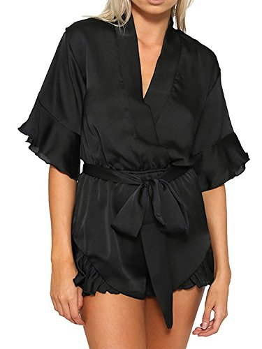 Women's V Neck Flared Romper Playsuits Glossy Satin Clubbing Jumpsuit, Black, -