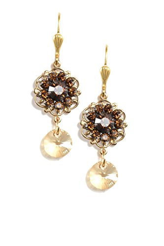 Clara Beau Brown Swarovski Glass Crystal Cluster Goldtone Flower Earrings EAM142]()