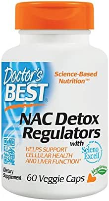 Doctor's Best NAC Detox Regulators with Seleno Excell, Non-GMO, Vegetarian, Gluten Free, Soy Free, 60 Veggie Caps