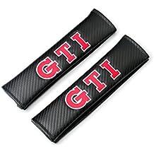 GTI Volkswagen VW Logo Emblem 3D Black Soft Carbon Fiber CF Gloss Finish Carbon Weave (Car Accessory Warehouse Exclusive Product) Seat Belt Shoulder Pad Seatbelt Pads