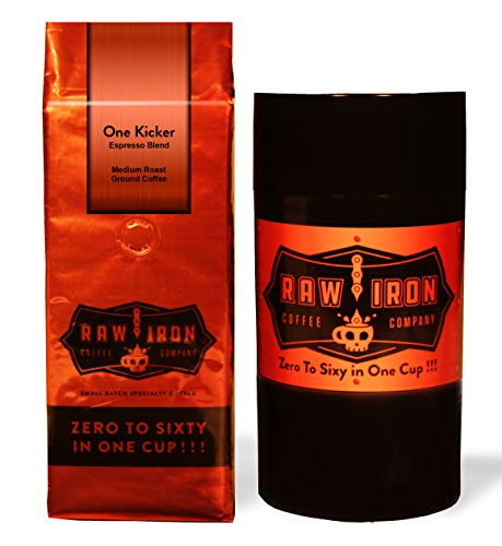 Indonesian Blend - Extra Strong Ground Gourmet High Caffeine Coffee One Kicker Espresso Blend High Grade Rich Bold Indonesian Blend Small Batch 12 oz Bag by Raw Iron Coffee Company (One Kicker Ground 12oz with Canister)