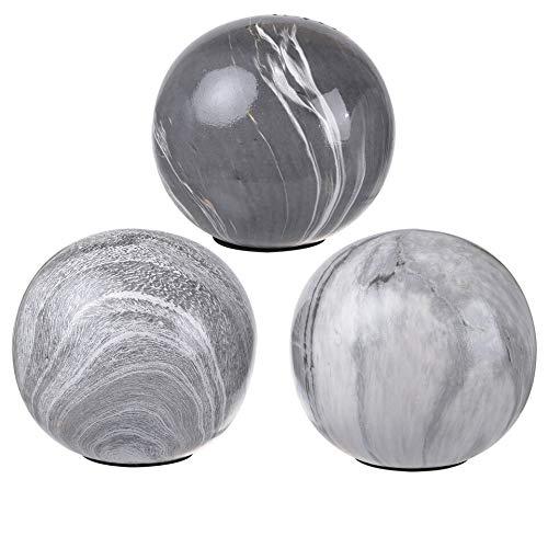 Benjara Benzara BM177181 Ceramic Decorative Balls with Flat Bottom, Set of Three, Gray and White,