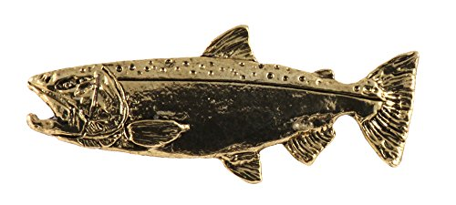 Creative Pewter Designs, Pewter Chinook Ocean Salmon Small Handcrafted Freshwater Fish Lapel Pin Brooch, 24k Gold Plated, FG041