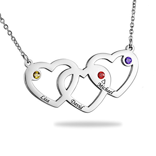 HooAMI Triple Hearts Necklace with Birthstones - Custom Made with 3 Names