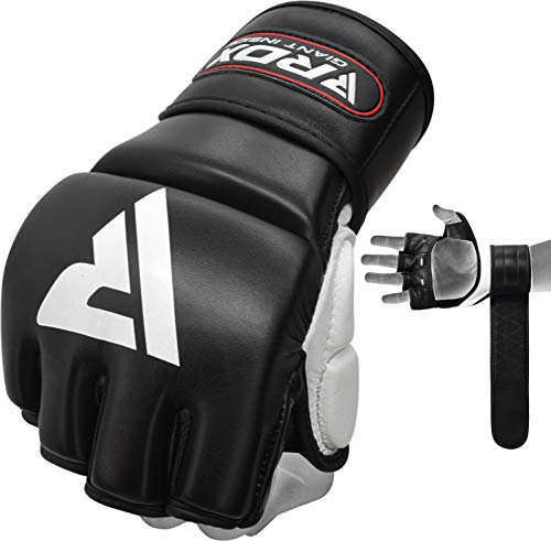 RDX MMA Gloves for Grappling Martial Arts, Open Palm Genuine Cowhide Leather, Padded Sparring Mitts for Kickboxing, Muay…