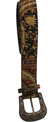 ABM Fashion Sourcing Women's Stylish Multi-Colored Paisley Western Belt with Decorative Buckle, Multi-Color