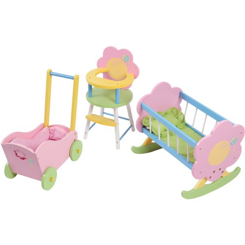 - CP Toys Wooden Doll Cradle, High Chair & Carriage Fits 12