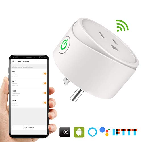 Wifi Smart Plug 2 Pack, Mini Outlet Compatible with Amazon Alexa Google Assistant, Socket with Remote Control and Timer Scheduler Function for Air Conditioner, No Hub Required, Smart Home by Leagoo by LEAGOO