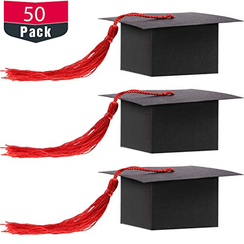 Hestya Graduation Cap Shaped Gift Box Grad Cap Candy Sugar Chocolate Box with Tassel for Graduation Party Favor Accessories (Red, 50 Pieces)